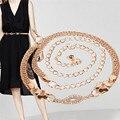 Тонкий ремни пояса ретро старинные Дамы Элегантный женский Леди Мода Металлические Цепи Жемчужина Стиля Пояса Цепь nor160729