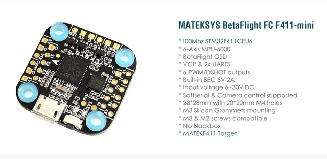 MATEKSYS F411-MINI integrated flight control STM32F411,MPU6000, BFOSD, 6 x PWM / DShot outputs, Built-in BEC 5V 2A, 20x20 mount
