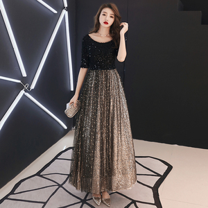 Image 4 - wei yin 2020 Black Long Evening Dress O neck Half Sleeves Ankle Length Lace Evening Dress Formal Party Dress Prom Dress WY1214