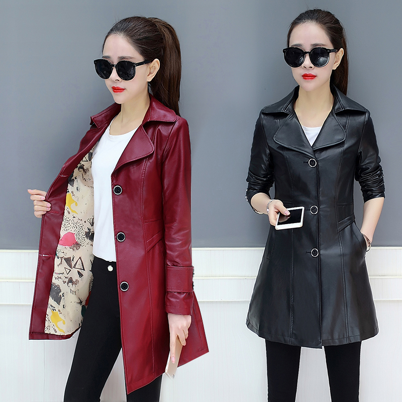 Women's Plus Size Single Breasted Spring Women   Leather   Jackets Female Long Women's Coats Slim PU   Leather   Outerwear Windbreaker