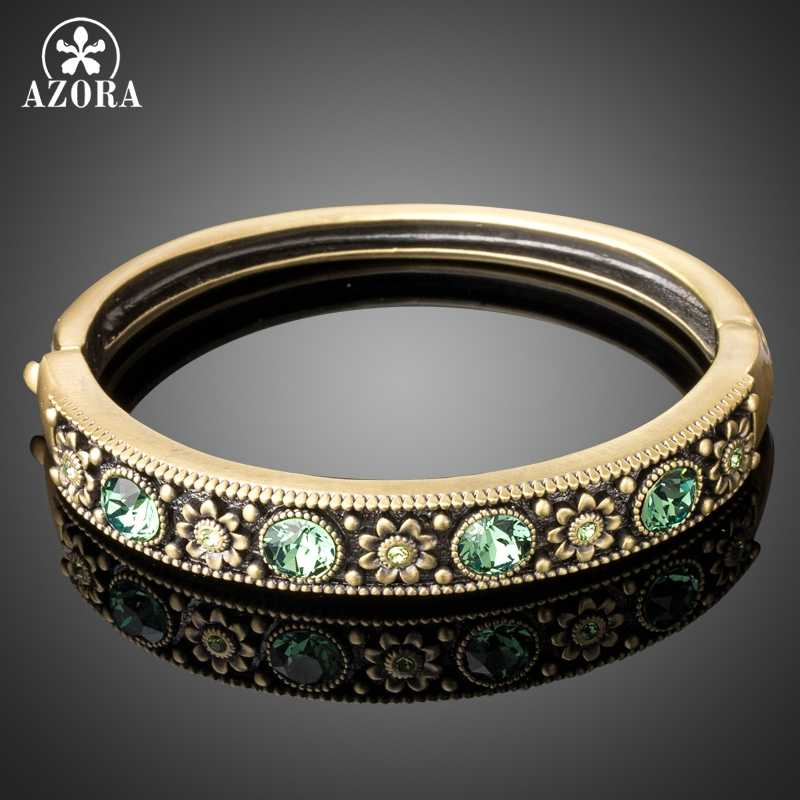 AZORA Fashion Jewelry Ancient Bronze Woman Round Bangle Crystal Austrian Rhinestone Flower Bracelet & Bangles TB0098