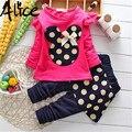 Ropa de las muchachas juegos de los niños de dibujos animados Minnie T-shirt + pants niños ropa de ocio traje de flores de Punto Floral hoodies envío gratuito