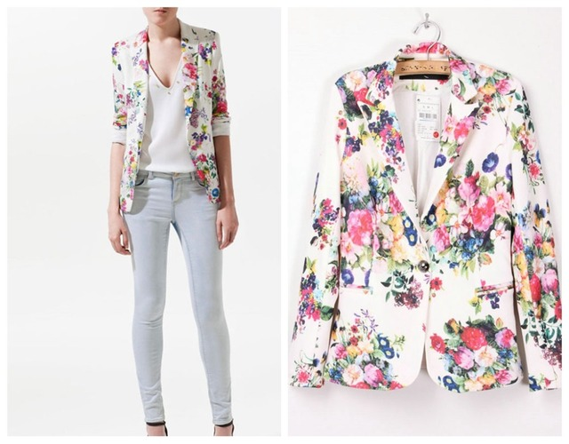 Fashion New women's Blazer Floral printing long-sleeve slim casual Jacket One Button Woman Suit Outerwear Coat Female Blazers