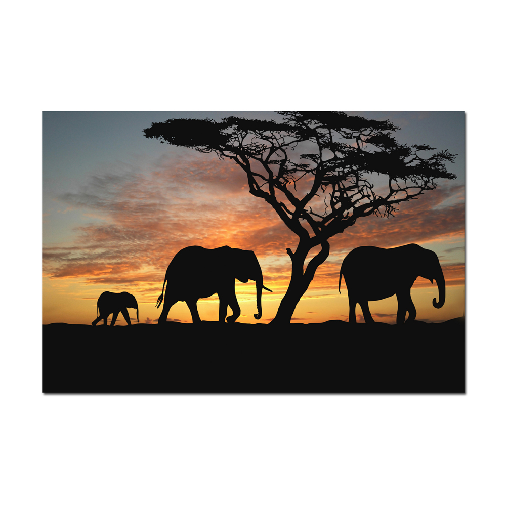 canvas prints silhouette of african elephant family at sunset go home picture print on canvas poster for home decor unframed in painting calligraphy from - Cadre Elephant