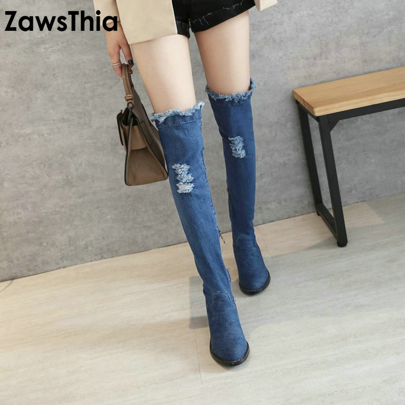 ZawsThia 2018 fashion Apring autumn women boots round toe zipper ladies denim boots square heel blue sexy over the knee boots wetkiss new holed denim over the knee women boots round toe high heel footwear ripped sewing square heel ladies stretch boots