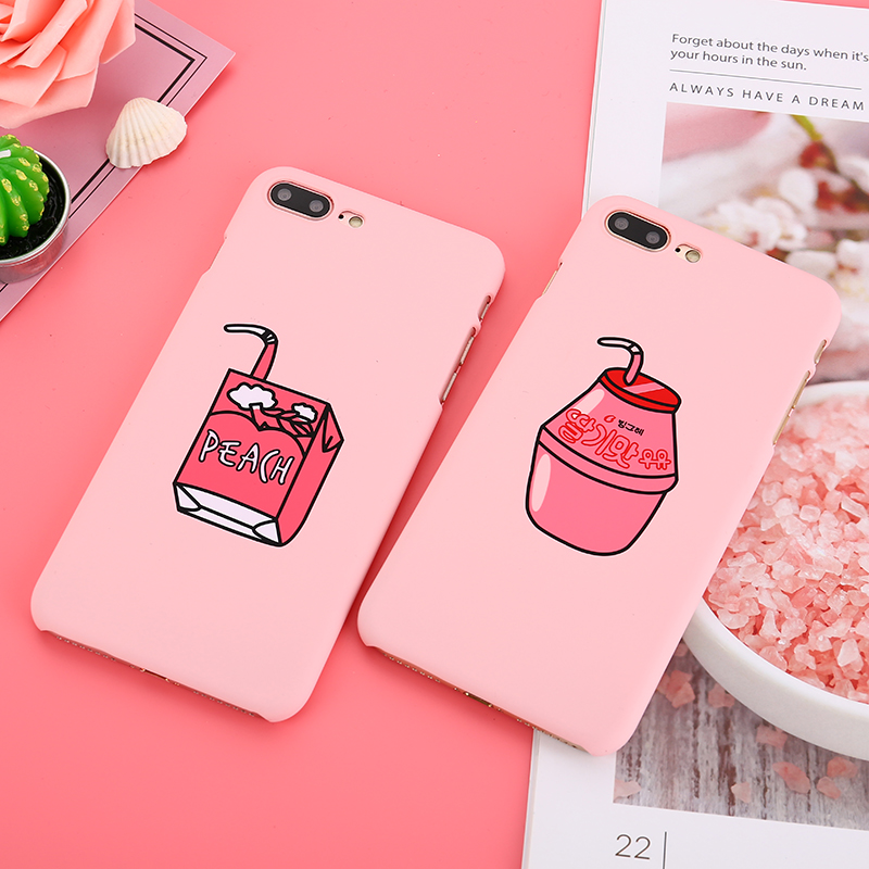 Galleria fotografica Cute Pink Milk Box Case for iphone 6 6S Plus 7 8 Plus Cell Phone Cases Kawaii Cartoon Fruit Peach Drinks Back Cover for iphone 8