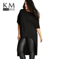 Kissmilk Plus Size Mid Sleeve O Neck Irregular Basic Tops Cotton Comfortable Solid Color Women T Shirt LargeT Shirt 3XL 6XL