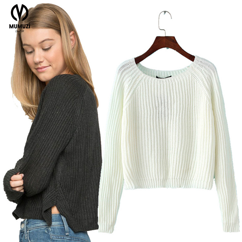 MUMUZI white knitted sweater women 2017 Autumn hollow out pullover sweater Sexy long sleeve short design sweater jumpers