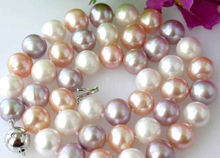 "2014 fashion beautiful free shipping Genuine 8-9mm Natural Multi-Color akoya cultured pearl necklace 18"" BV43"