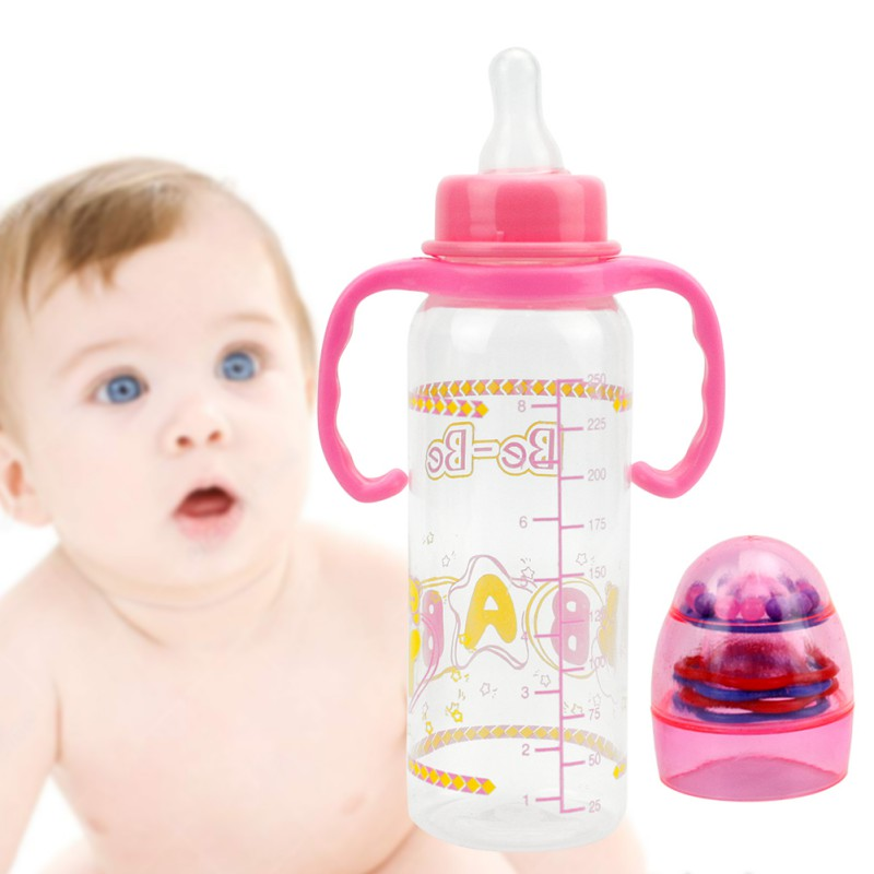 Newborn 250ml Baby Bottle Automatic Straw Handle Silicone