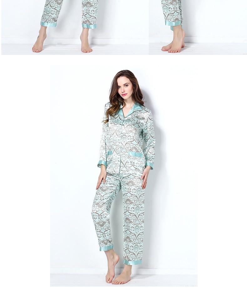 73a1f08e480f 2019 New Spring Women 100% Real Silk Pajamas Set printing Sexy Pyjama Femme  Sleep Lounge Bedgown Girls Pure Silk Sleepwear Suits