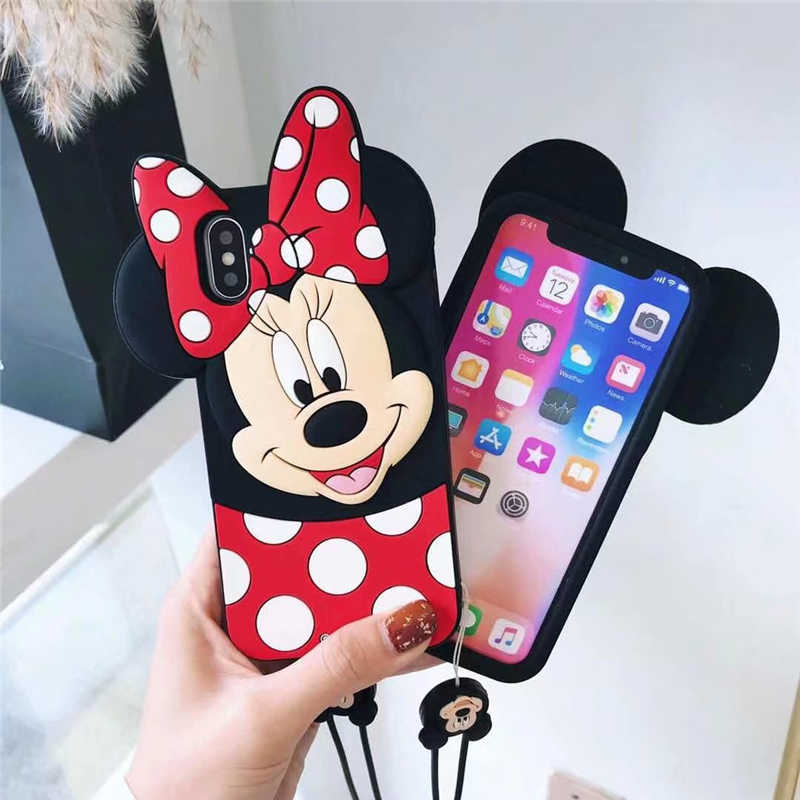 3D Cartoon Minnie Mouse Case For iPhone 10 X 4 4s 5 C 5s SE 6 6s 7 8 6 Plus 7 Plus 8 Plus Cute Soft Silicone Phone Cover