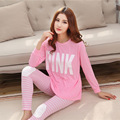 LIKEPINK 2017 Casual Women Pajamas Set Cartoon O-Neck Long Sleeve Pyjamas For Women Summer Nightwear Sleepwear Suit Pink M~XL