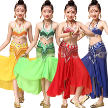 Tops+Dress+Belt Sequined Girls Belly Dance Costume Bollywood Indian dancing Dress Dancing For Girls Ballroom Performance dancing
