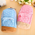 New coreano polka dot mochila de lona grande capacidade saco do lápis da escola caixa de lápis caneta saco de armazenamento cortina