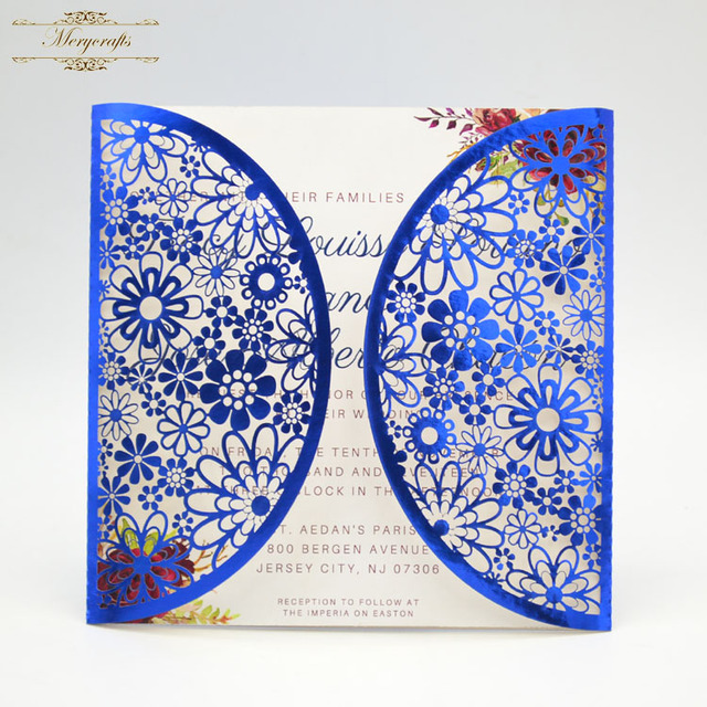 laser cut flowers pattern freshers party invitation cards for wedding decoration