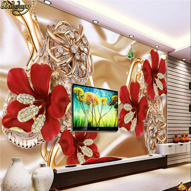 beibehang Custom Photo Wallpaper Stereo Surfaces Mural 3d rich jewelry jewelry flowers TV backdrop wall paper papel de parede 3d