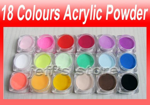18 Colours Nail Art Acrylic Powder Dust For Tips Decoration 18pcs Lot