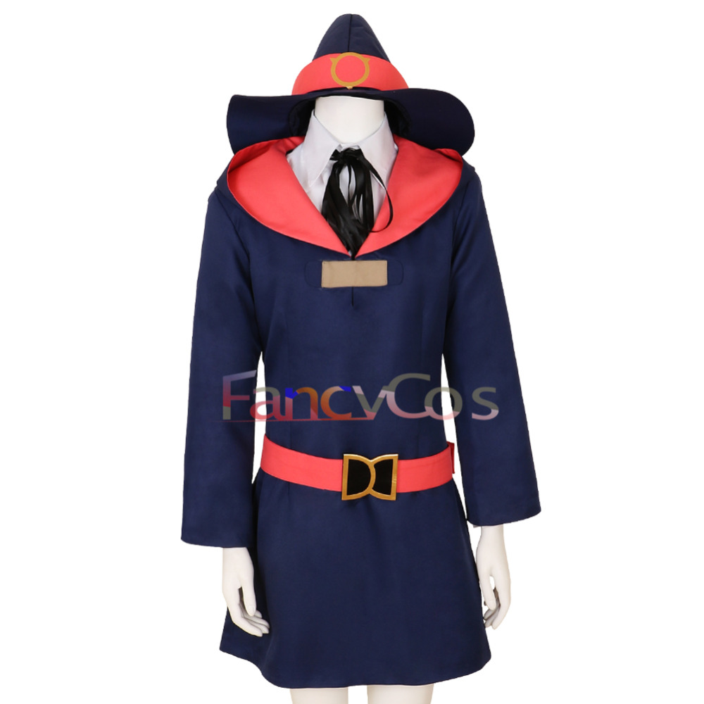 Halloween Little Witch Academia Kagari Atsuko Dress Cosplay Costume Blue Dress Anime Movie High Quality Custom Made