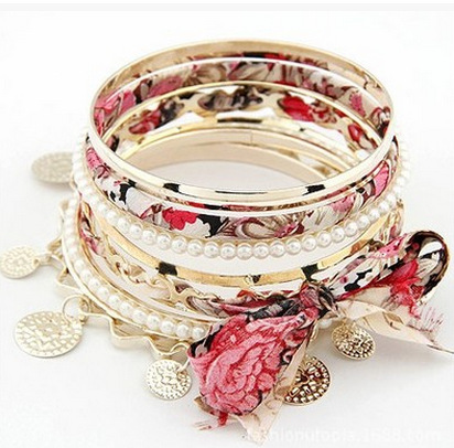 Bohemian Multilayer Charms Bow-Knot Bracelets & Bangles For Women Vintage Braided Cloth Ornaments Pear Beads Female Jewelry
