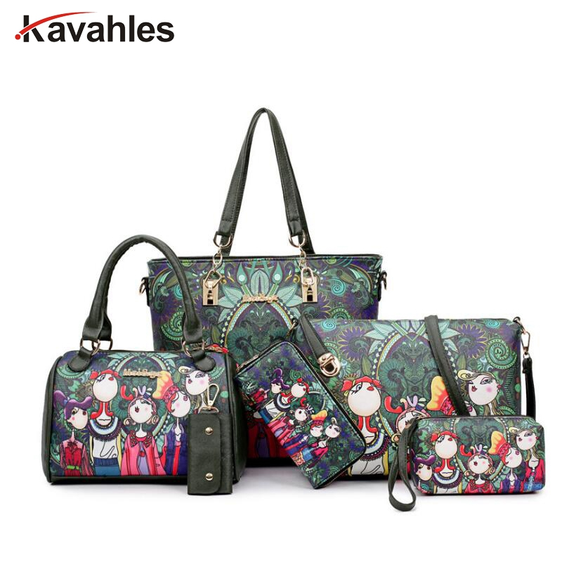Women Handbag Leather Female Bag Fashion Cartoon Shoulder Bag High Quality 6-Piece Set Designer Brand Bolsa Feminina PP-1147 3 piece new oil wax leather women bags set handbags fashion shoulder bag female high quality famous brand purse bolsa feminina