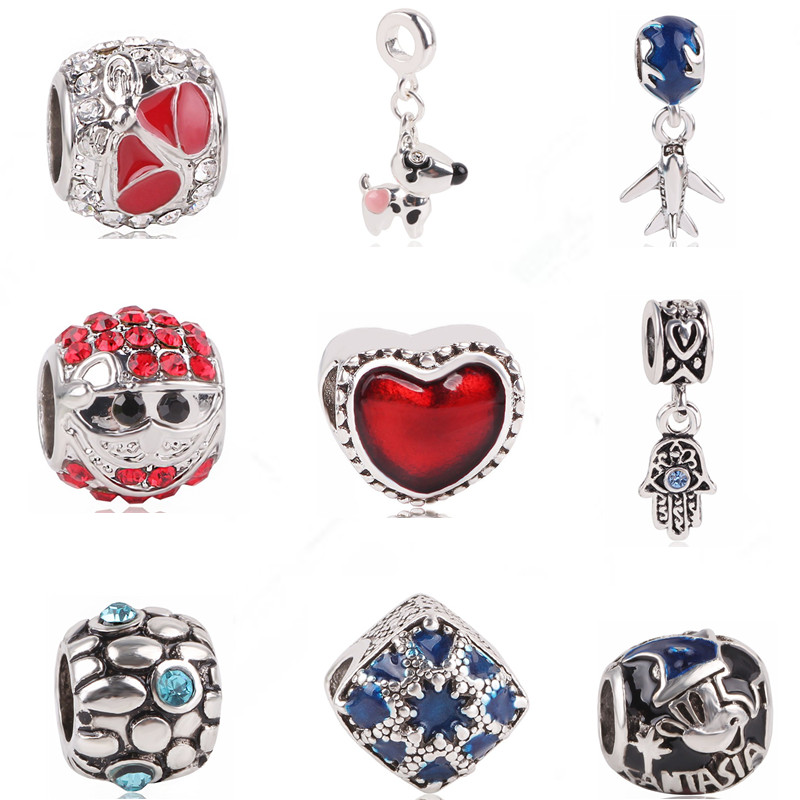 Ranqin Original Fashion European Puppy Airplane Heart Shaped Bead Couple Pendant Fit Pandora Charms Bracelets DIY Women Jewerly