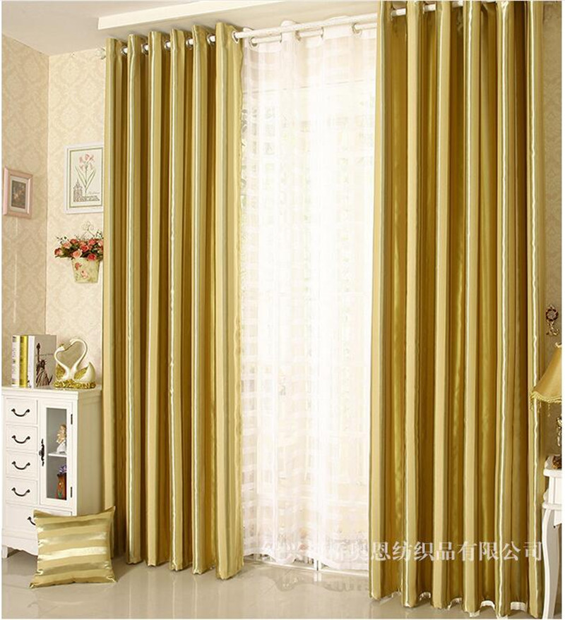 Gold Gray Elegant Fashion Vertical Stripe Blackout Window Curtains For Living Room Bedroom Drapes Cotinas Para