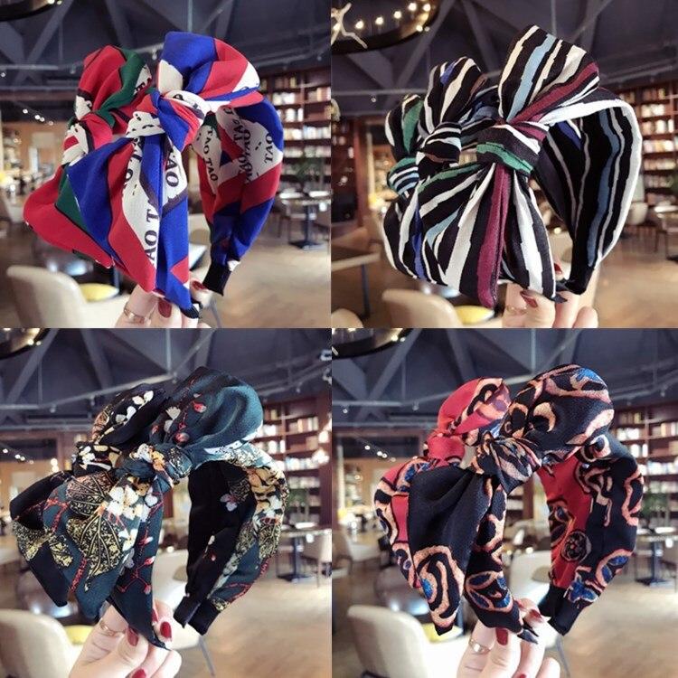 GüNstig Einkaufen Korea Handgefertigte Karikaturdruck Haarschmuck Für Mädchen Knoten Haarband Blume Stirnbänder Für Frauen Reinweiß Und LichtdurchläSsig
