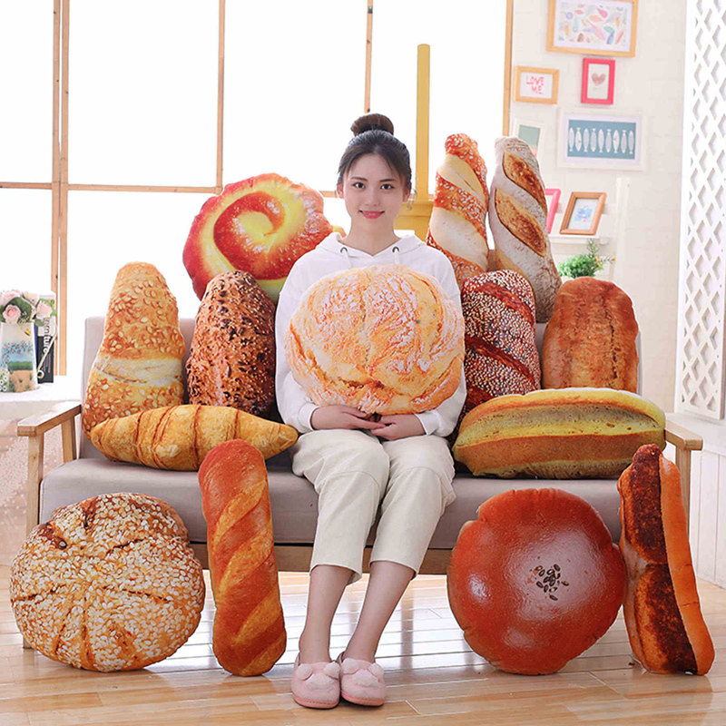 Creative Simulational Plush Bread Burger Shape Pillow Funny Food Nap Pillow And Cushion Kids Toy Birthday Gift 50cm/55cm