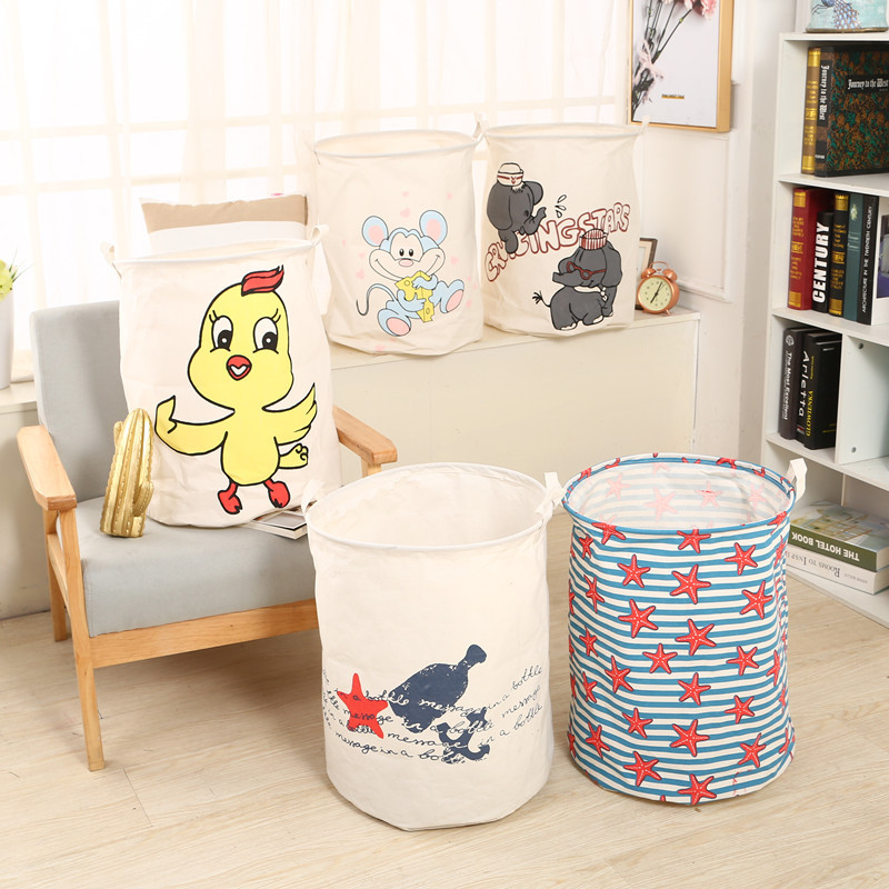 New Large Laundry Bag Clothes Storage Baskets Home Clothes Print Bags Kids Toy Storage Household Folding Laundry Basket