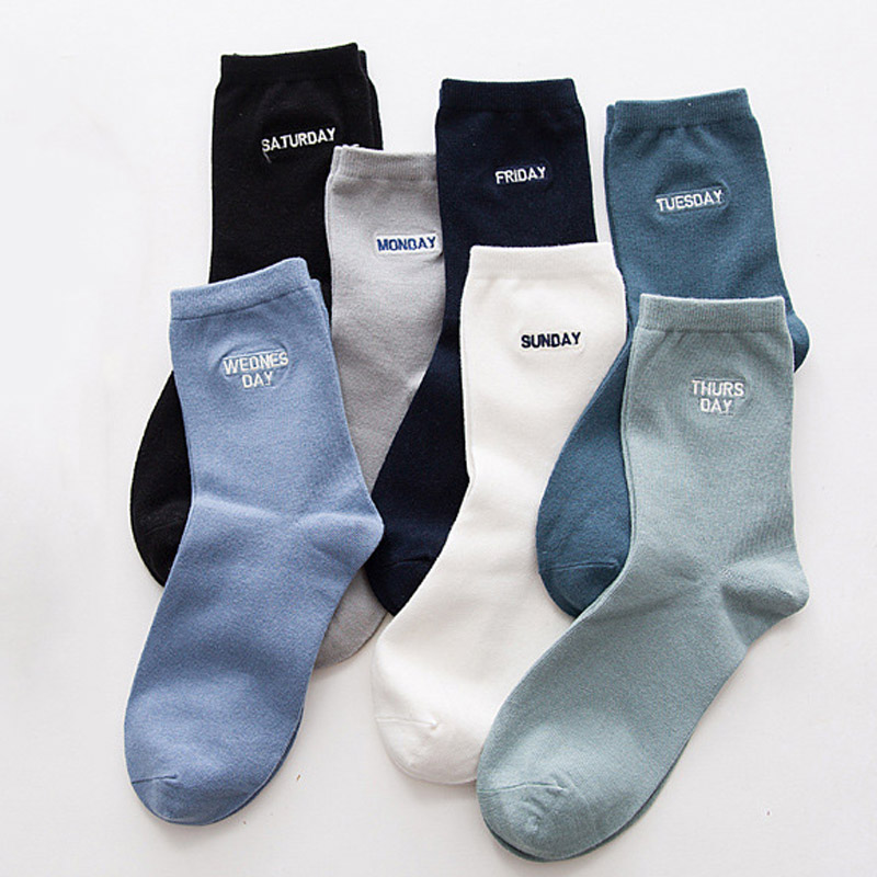 7 Pairs/lot Men Combed Cotton Dress Socks Week Socks for Every Day Friday Weekly Fine embroidery Male Socks for Business