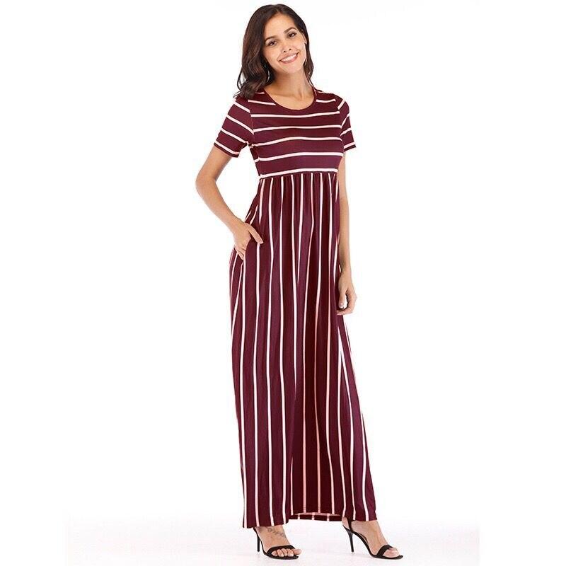 Rayé bouton chemise robe 2019 femmes vacances bohème plage robe Sexy profonde lâche robes décontracté femmes robes