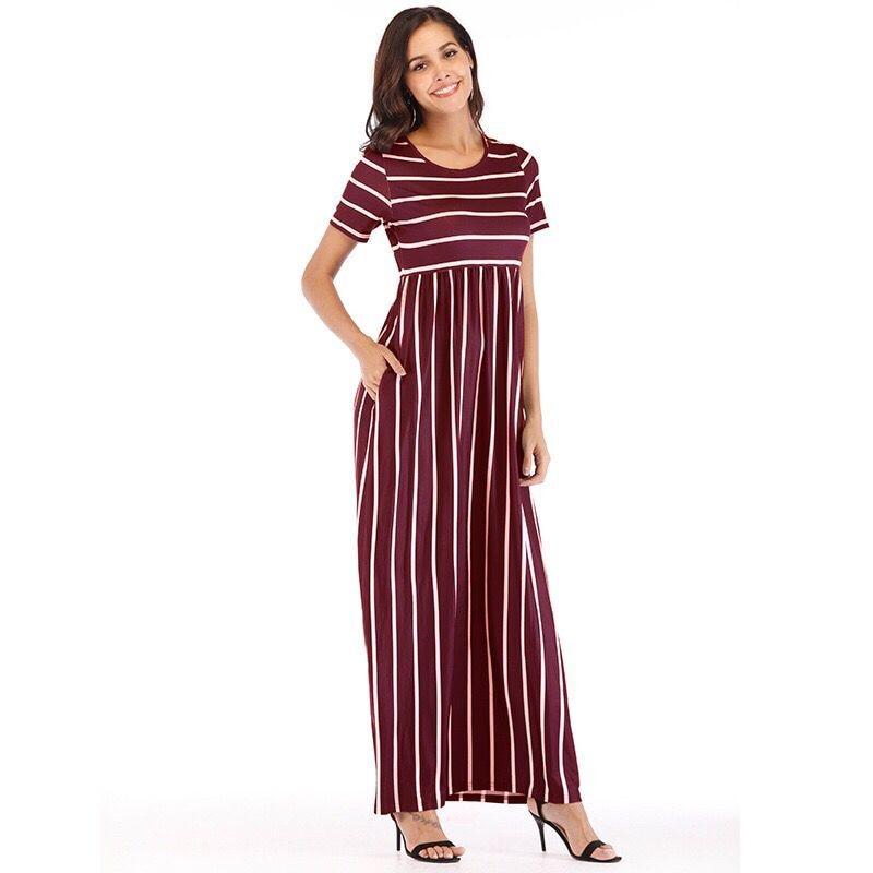 Striped Button Shirt Dress 2019 Women s Vacation Bohemian Beach Dress Sexy Deep Loose Dresses Summer