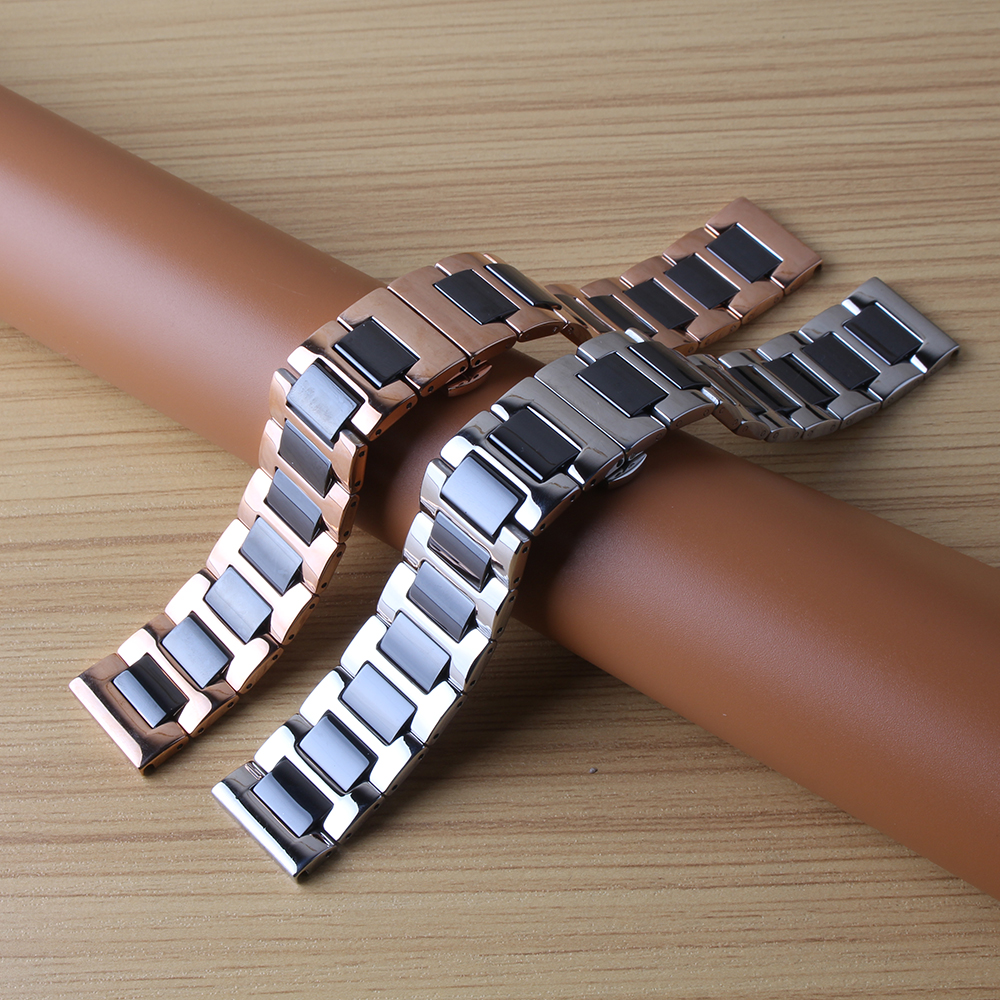 16mm 18mm 20 22mm Ceramic Watchbands FIT Smart Watch Band Stainless Steel Wrap ceramic W ...