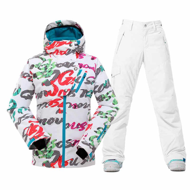 Брендовые женские лыжные костюмы женские лыжные куртки брюки зимние уличные сноубордические наборы водонепроницаемые женские лыжная одежда пальто