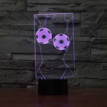 цена 3D LED Football girl Table Lamp Touch Switch Decorative lighting Atmosphere Colorful USB Luminaria  Night Light Remote Control онлайн в 2017 году