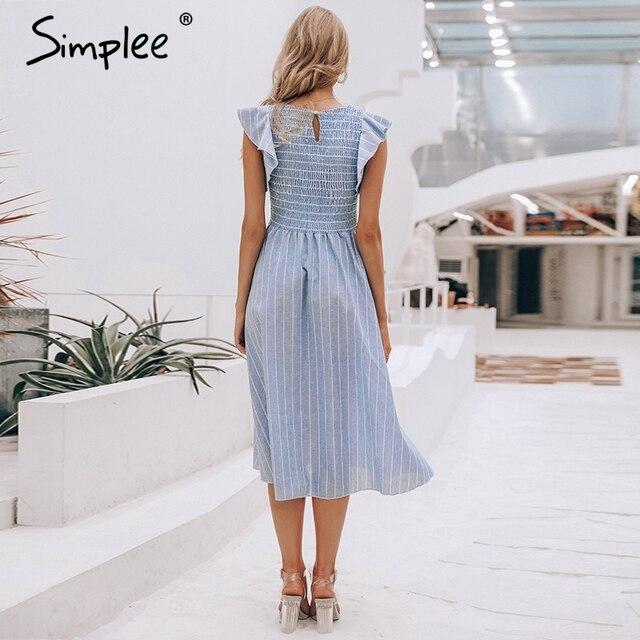 linen blue elegant summer dress Casual cotton  5