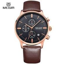 Megir кварцевые мужские часы световой водонепроницаемый спортивные часы человек коммерческий кожа наручные часы 2011 бесплатная доставка