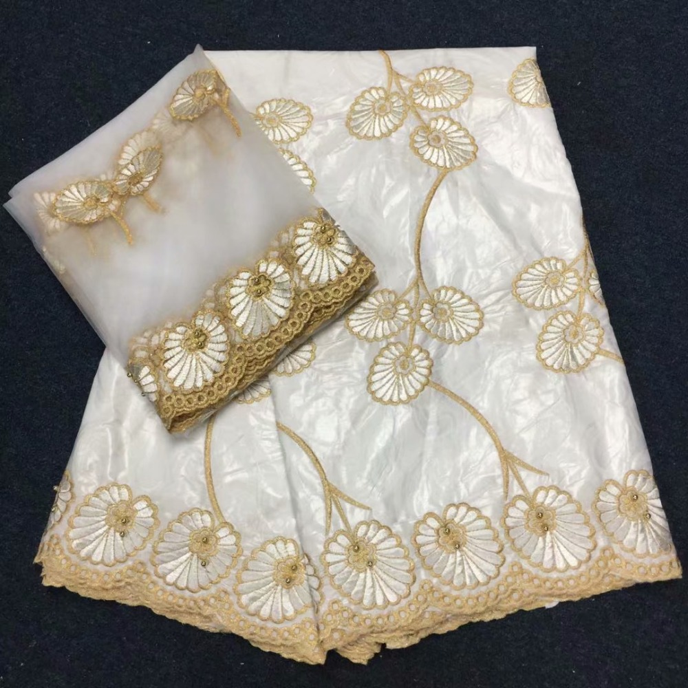 New arrival white African Bazin Riche Getzner fabrics with Beads,French net Embroidery lace Nigeria for dress (5+2yards )New arrival white African Bazin Riche Getzner fabrics with Beads,French net Embroidery lace Nigeria for dress (5+2yards )