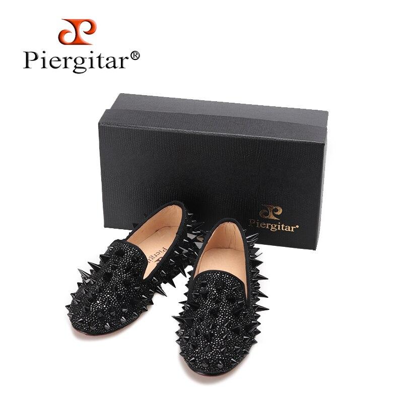 Piergitar/2018 Новое поступление дизайн родитель ребенок обувь ручной работы детей spikers Лоферы вечерние и праздничные детские кожаные туфли