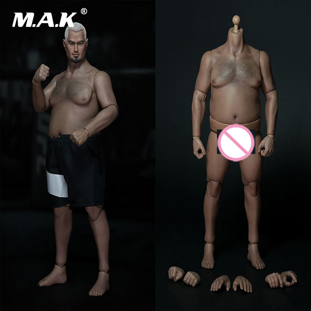 1/6 Scale Plump Man Figure Fat Strong <font><b>Body</b></font> Figure with head and short For 1:6 Model Action Figure Accessory image