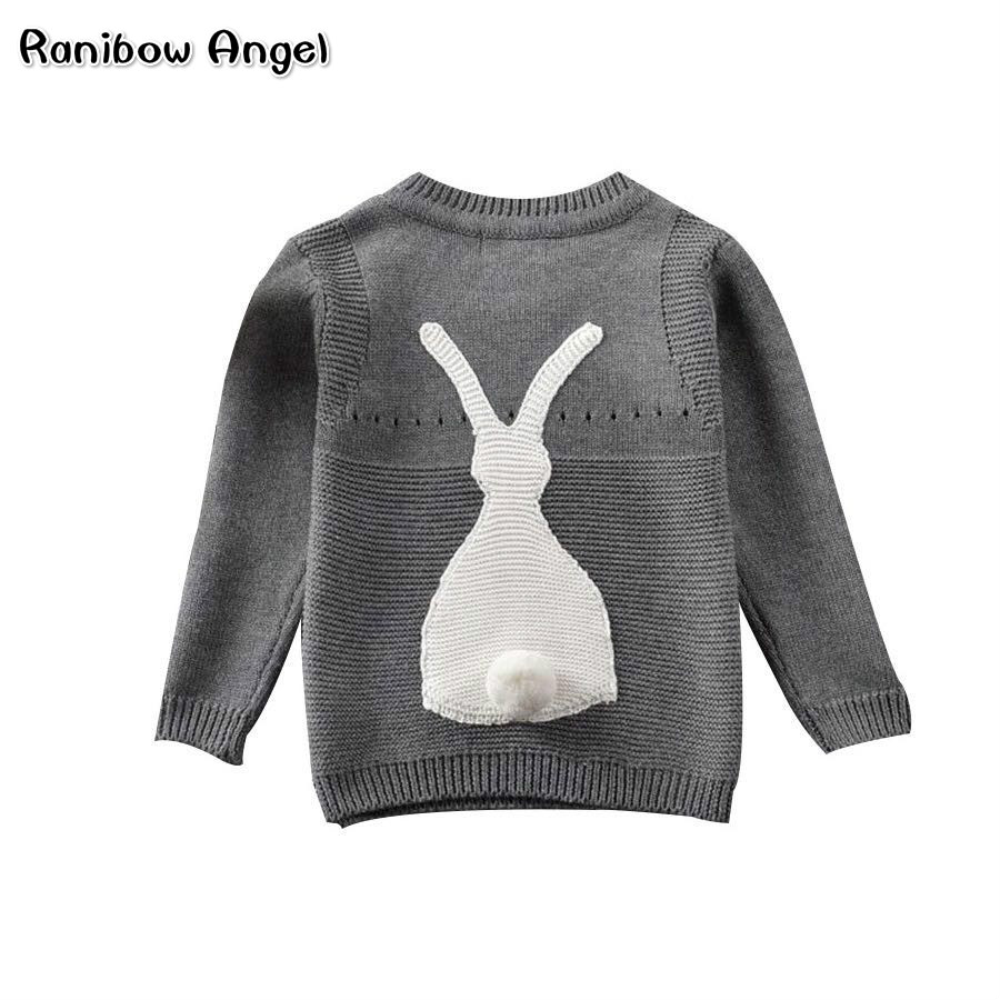 Autumn Baby Boys Girls Sweater Toddler Girls Jumper Knitwear Rabbit Long-Sleeve Pullover for Girls and Boys Children's Clothing rabbit print pullover