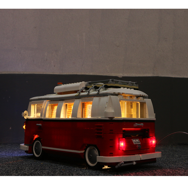 21001 1354 قطعة T1 فان العربة اللبنات متوافق مع 10220 مع مصباح ليد تكنيك سيارات لعب الطوب للأطفال-في حواجز من الألعاب والهوايات على  مجموعة 2