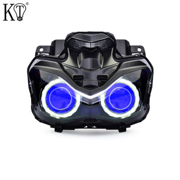 KT Headlight Suitable for Kawasaki Z900 2017 2018 LED Angel Eye Blue Demon Eye Motorcycle HID Projector Assembly pc game