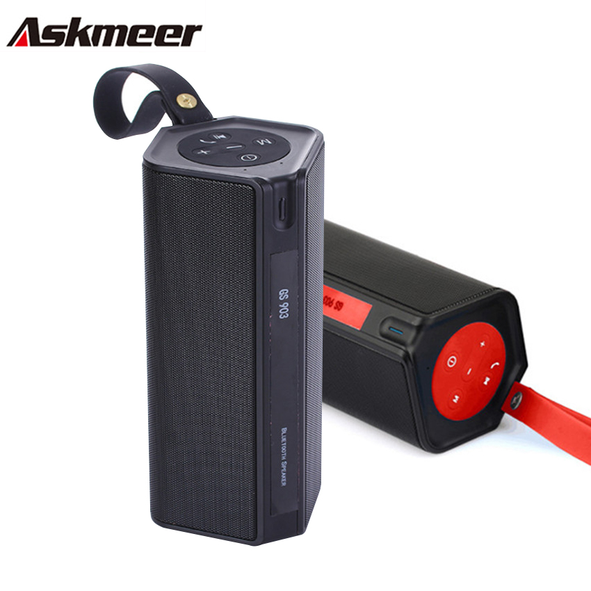 Askmeer Bluetooth Stereo Speaker Portable Wireless Outdoor Hifi Subwoofer Speaker with Power Bank/Mic Support TF FM