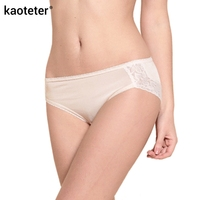 100 Pure Silk Panties Women High Quality Breathable Knitting Seamless Sexy Lace Mid Rise Briefs Solid