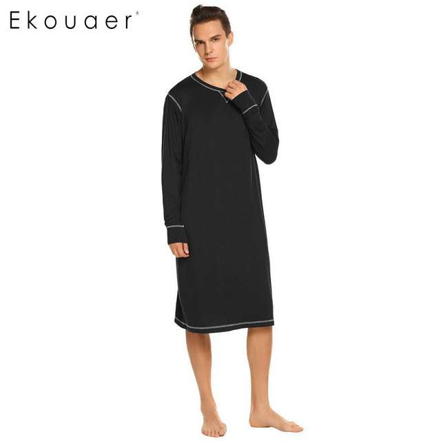 Ekouaer Men Sleepwear Long Nightshirt Long Sleeve Lightweight Loose Casual Sleepshirts Male Comfortable Home Nightwear Plus Size