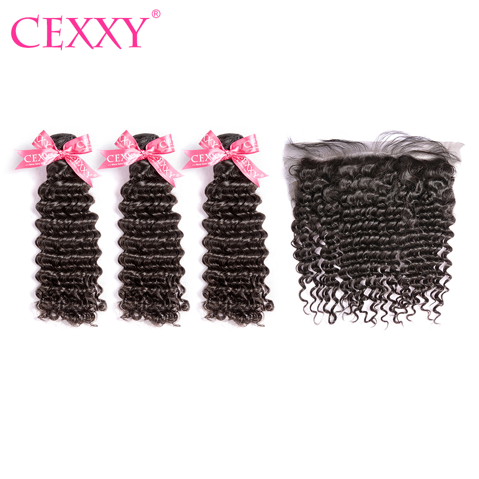 8A CEXXY Human Hair Bundles With Frontal Peruvian Deep Wave Unprocessed Virgin Hair 13 4 Lace