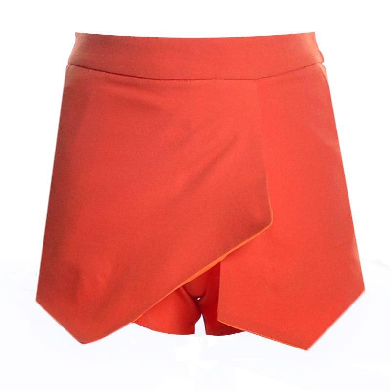 Новые повседневные шорты для женщин Летние шифоновые европейские шорты высокий эластичный пояс свободные шорты - Цвет: Оранжевый