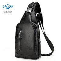 For 11 11 Newly Arrival PU Leather Men Cross Body Chest Pack Waterproof Casual Shoulder Bag